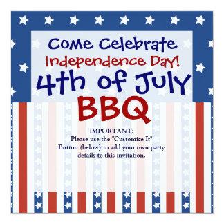 Les étoiles patriotiques barre 4 juillet des carton d'invitation  13,33 cm