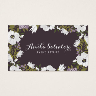 Les fleurs lilas d'anémone ont personnalisé floral cartes de visite