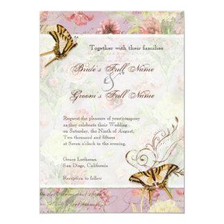 "Les Fleurs Peony Rose Tulip Floral Flowers Wedding 5"" X 7"" Invitation Card"