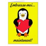 """Les Français """"m'embrassent… maintenant !"""" Pingouin Carte De Vœux"""