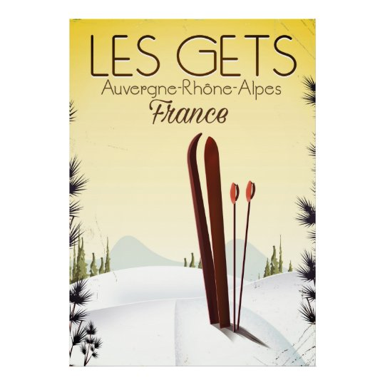 Les Gets France ski travel poster