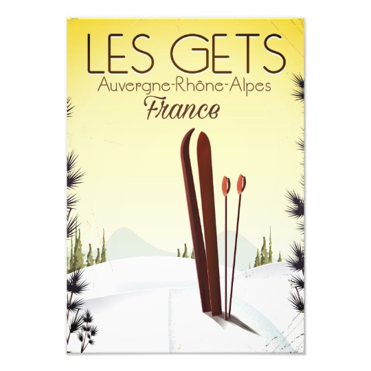 Les Gets France ski travel poster