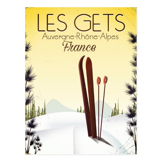 Les Gets France ski travel poster Postcard