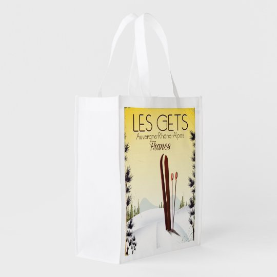 Les Gets France ski travel poster Reusable Grocery Bag