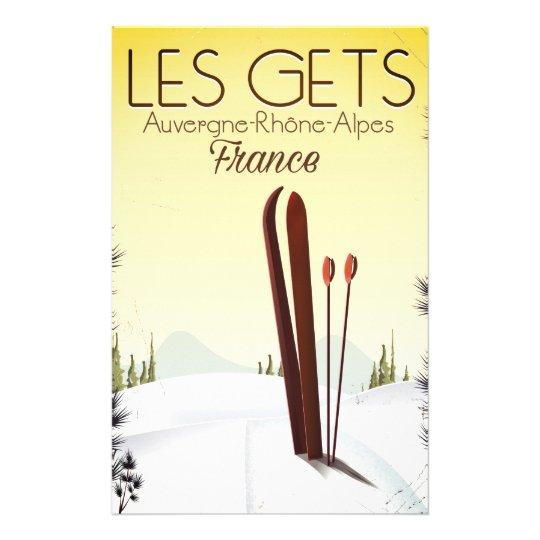 Les Gets France ski travel poster Stationery