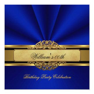 Les hommes élégants de fête d'anniversaire d'or de carton d'invitation  13,33 cm