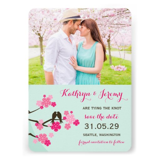 Les inséparables de Sakura de fleurs de cerisier Invitations
