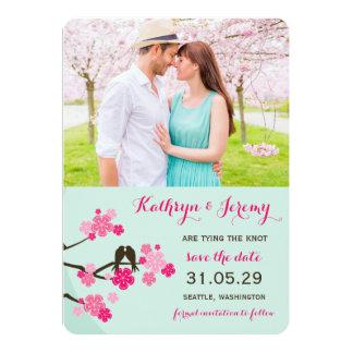 Les inséparables de Sakura de fleurs de cerisier Carton D'invitation 12,7 Cm X 17,78 Cm