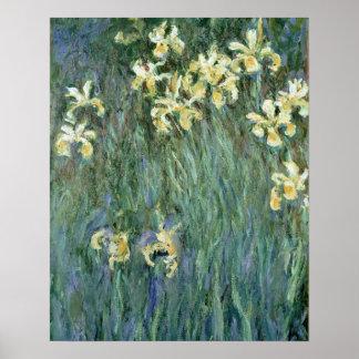 Les iris jaunes (huile sur la toile) poster