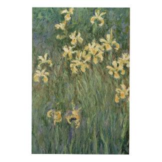Les iris jaunes (huile sur la toile) impression sur bois