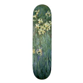 Les iris jaunes (huile sur la toile) skateboard customisable