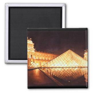 """""""Les Lumieres du Louvre"""" Watercolor Art Square Magnet"""