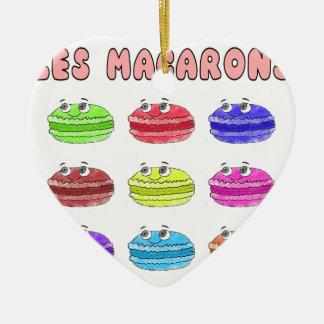 Les Macarons Cute Cartoon Ceramic Heart Ornament
