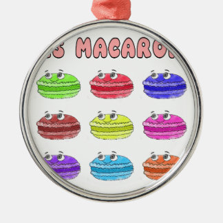 Les Macarons Cute Cartoon Silver-Colored Round Ornament