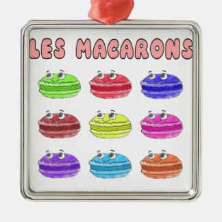 Les Macarons Cute Cartoon Silver-Colored Square Ornament