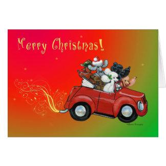 Les masses cartes de voiture de Noël de caniches d