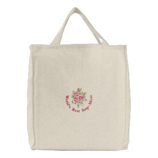 Les meilleurs roses de la belle-mère du monde sacs fourre-tout brodés