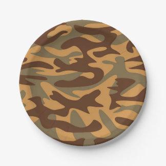 les militaires jaunes verts bruns camouflent assiette en papier 17,8 cm
