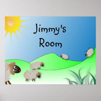 Les moutons drôles ont personnalisé la copie nommé poster