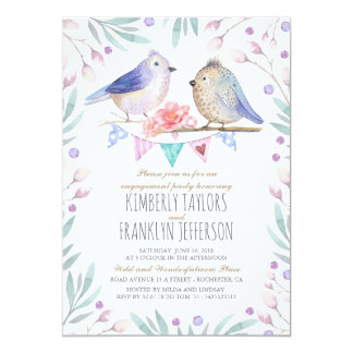 Les oiseaux couplent la partie de fiançailles carton d'invitation  12,7 cm x 17,78 cm