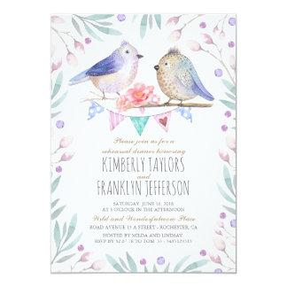 Les oiseaux couplent le dîner mignon de répétition carton d'invitation  12,7 cm x 17,78 cm
