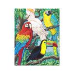 Les oiseaux tropicaux ont enveloppé la toile impression sur toile