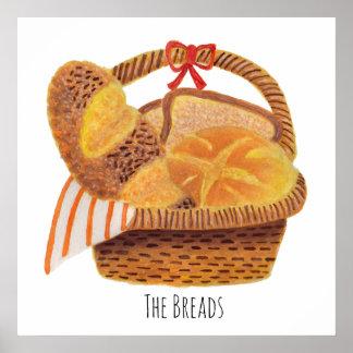 Les pains dans le panier posters