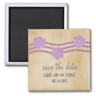 Les perles et les fleurs sauvent l'aimant de date, magnet carré