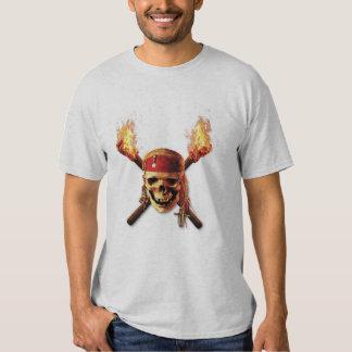 Les pirates du crâne des Caraïbes incendie le logo Tee Shirt