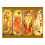 les quatre saisons - art Nouveau Cartes Postales