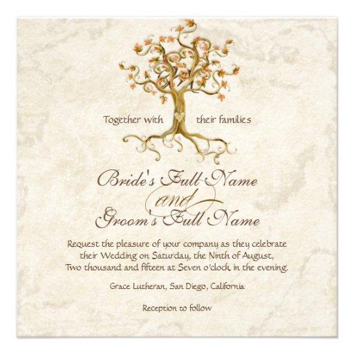 Les racines d'arbre de remous Antiqued le mariage  Invitation