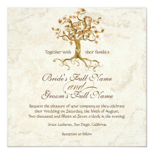 Les racines d'arbre de remous Antiqued le mariage Carton D'invitation 13,33 Cm