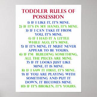 Les règles de l'enfant en bas âge du signe drôle poster