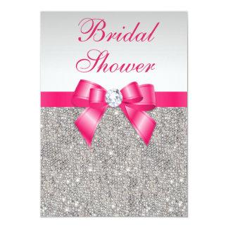 Les roses indien argentées de paillettes cintrent carton d'invitation  12,7 cm x 17,78 cm