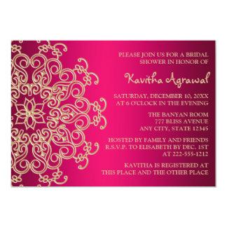Les roses indien et l'Indien d'or ont inspiré la Carton D'invitation 12,7 Cm X 17,78 Cm