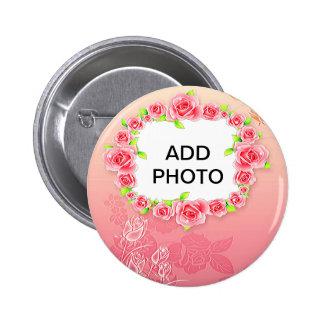 Les roses roses Valentine ajoutent votre photo Macaron Rond 5 Cm