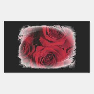 Les roses rouges fleurit le blanc floral de photo adhésif