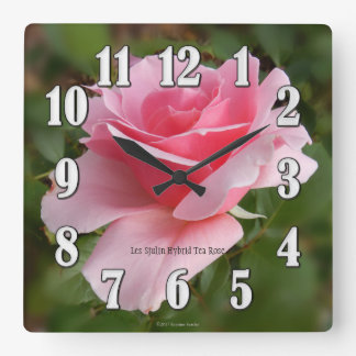 Les Sjulin Pink Rose Large Numbers Wall Clock