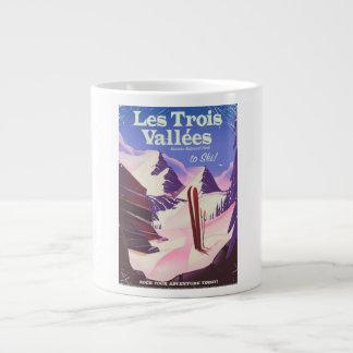 Les Trois Vallées Ski travel poster Large Coffee Mug
