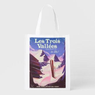 Les Trois Vallées Ski travel poster Reusable Grocery Bag