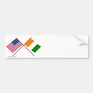 Les USA et drapeaux croisés par d'Ivoire de Cote Autocollant De Voiture