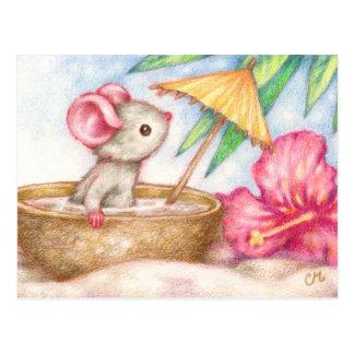 Les vacances de la souris - carte postale mignonne