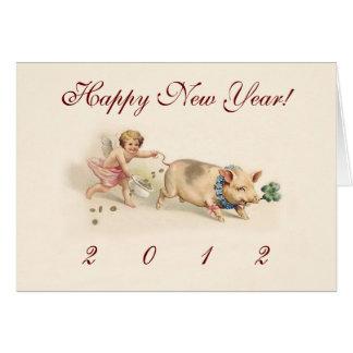 Les vacances drôles mignonnes de nouvelle année de cartes de vœux