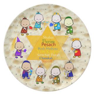 Les vacances juives badinent le plat de Matzoh Assiettes Pour Soirée