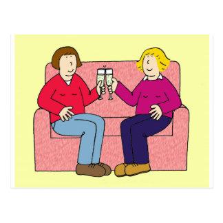 Lesbian anniversary congratulations. postcard