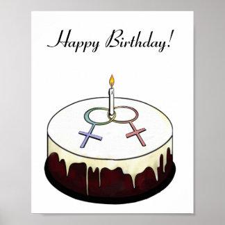 Lesbian Birthday Cake Poster