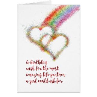Lesbian Birthday Wish for Life Partner, Rainbow Card