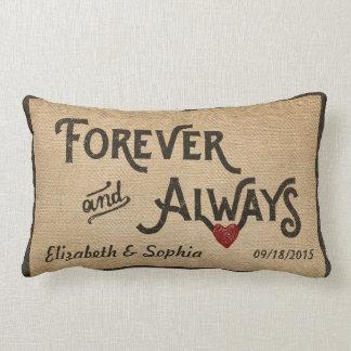 Lesbian Burlap Forever Always Heart Personalized Lumbar Pillow