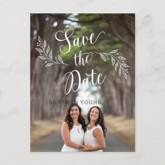 Lesbian Couple Rustic Leaf Save the Date Postcard
