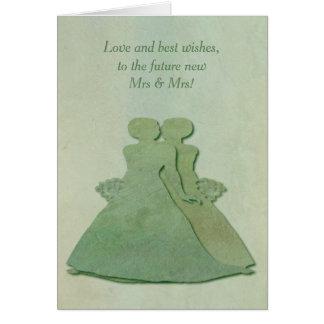 Lesbian Engagement Congratulations - Mint Rustic Card